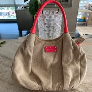 Kate Spade Beige Beach Bag with Hot Pink Straps